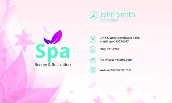 free spa business card template