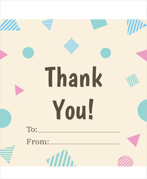 free thank you gift label sample