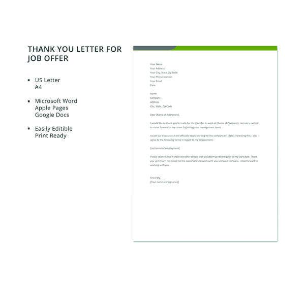 8 job offer thank you letter templates pdf doc apple pages