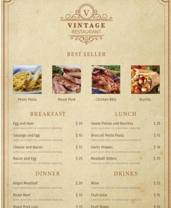 24+ Free Printable Menu Designs & Templates