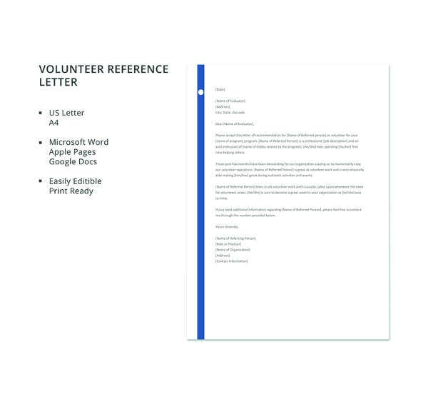 free volunteer reference letter template