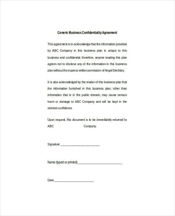 generic business confidentiality agreement doc