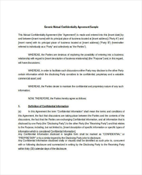 generic joint confidentiality agreement doc