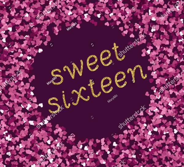 glitter sweet 16 banner template