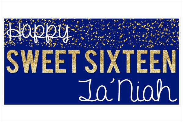 Glitter Sweet 16 Party Banner Example