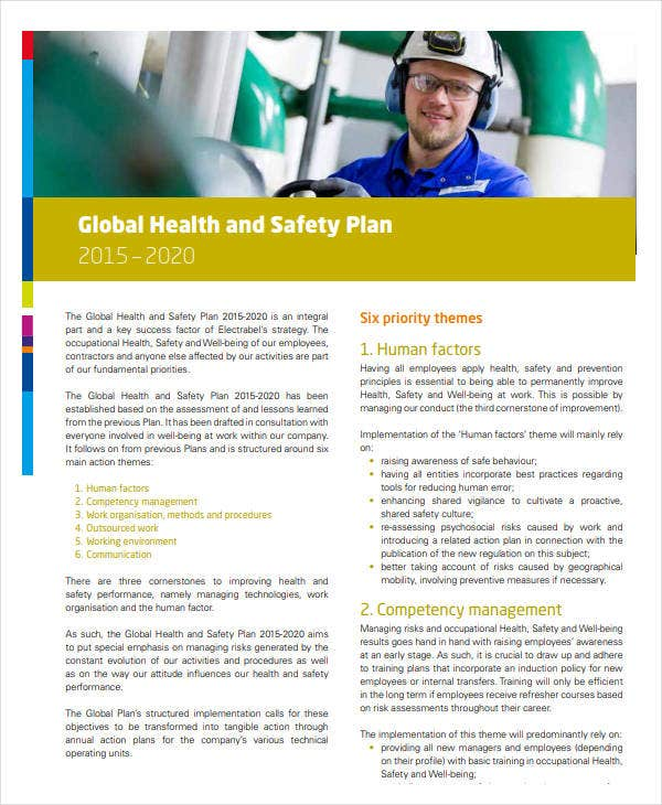 global health and safety plan
