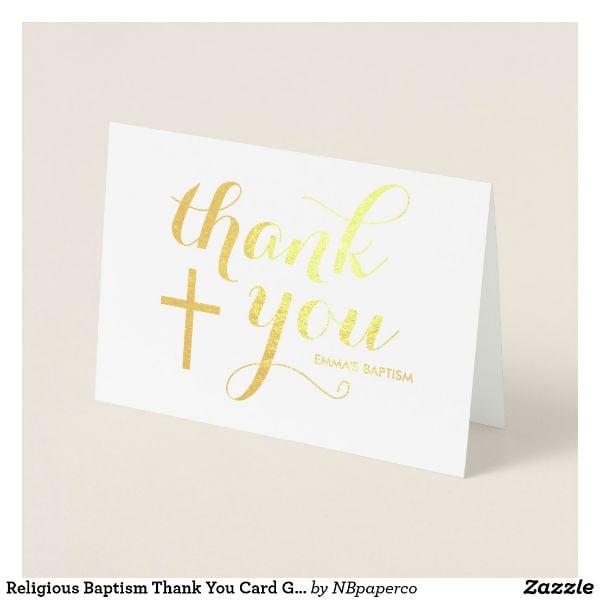 goil foil baptism thank you card template