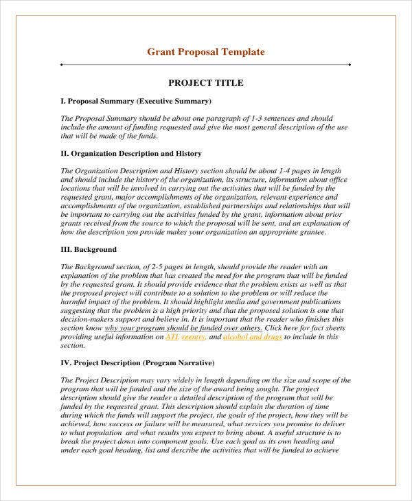Grant Proposal Outline Sample