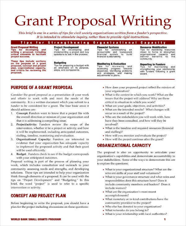 Grant Proposal Writing Outline