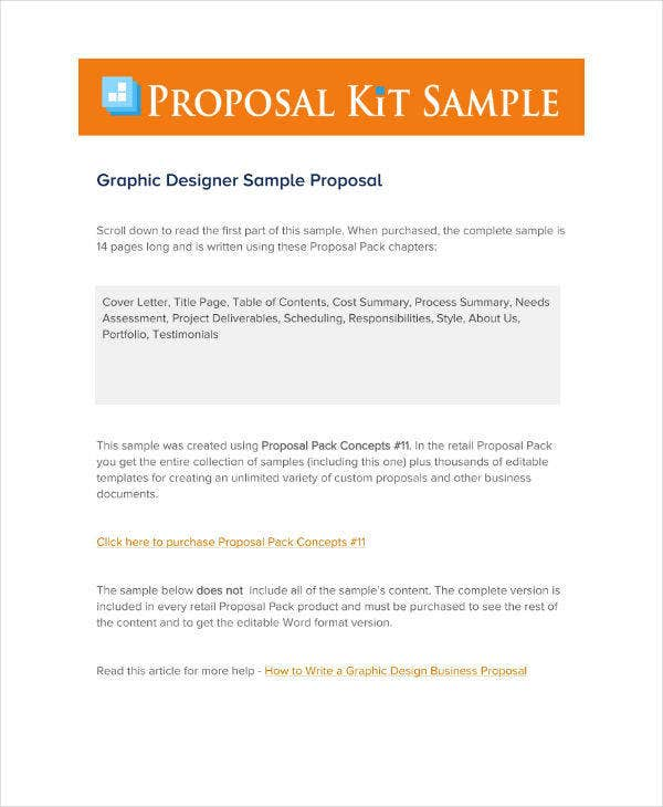 Graphic Designer Business Proposal Sample