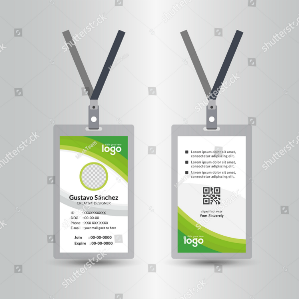 Green Waves Vertical ID Card Template