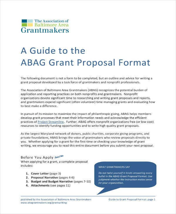Guide to Grant Proposal Format
