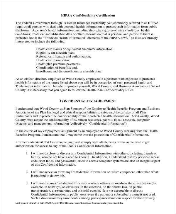 HIPAA Employee Confidentiality Statement