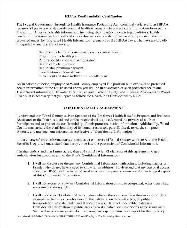hipaa employee confidentiality statement