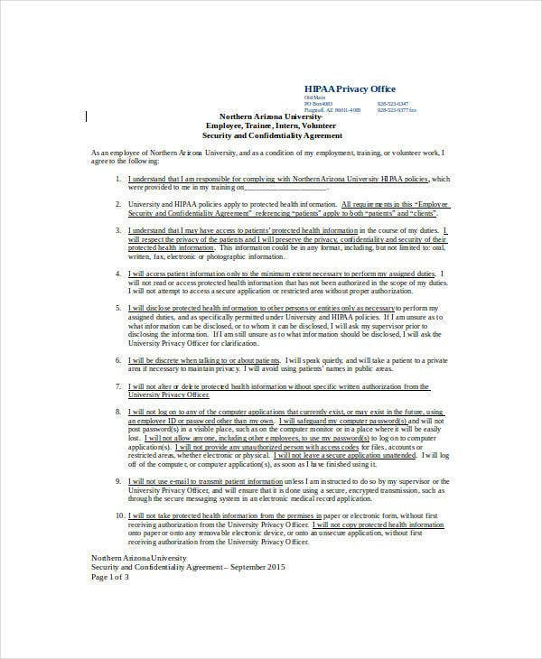 11 Hipaa Confidentiality Agreement Templates Pdf Doc Free