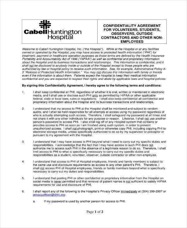 10 Hipaa Confidentiality Agreement Templates Pdf Doc Free