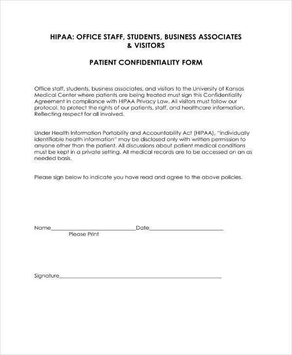 HIPAA Patient Confidentiality Form