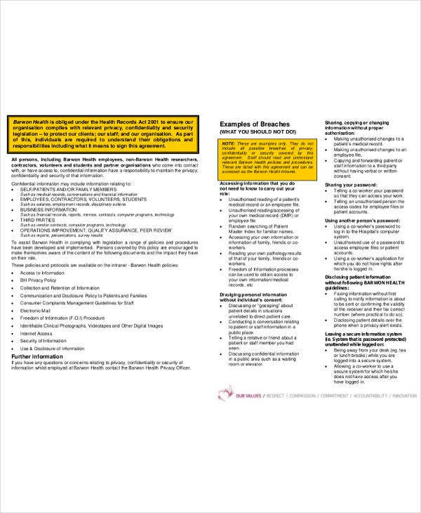health confidentiality agreement example
