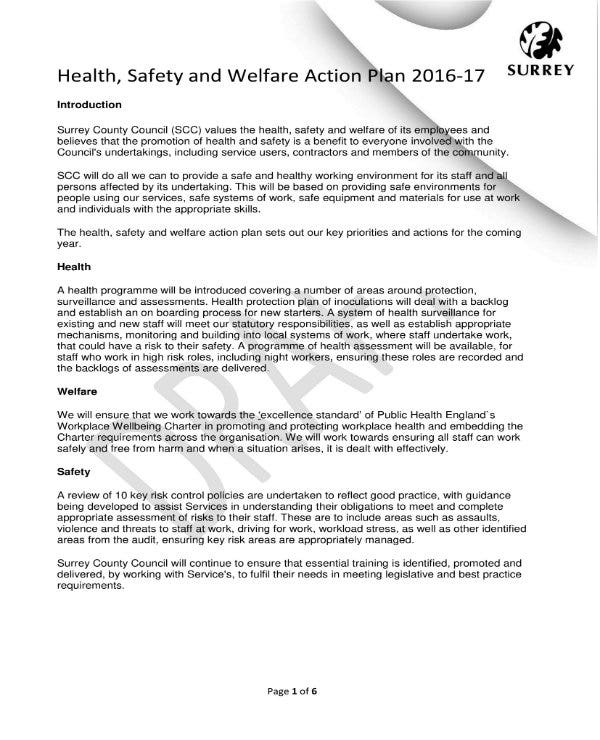 health safety and welfare action plan 1