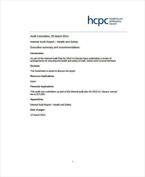 Health and Safety Audit Report Sample