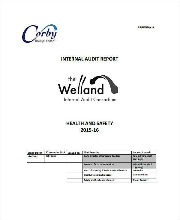 Health and Safety Internal Audit Report Example