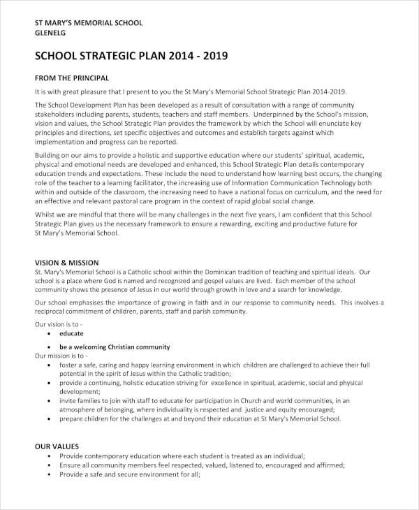 High School Strategic Plan Sample
