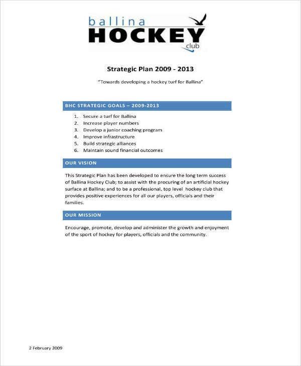 Hockey Club Strategic Plan