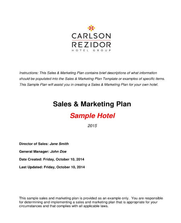 hotel sales and marketing plan 011