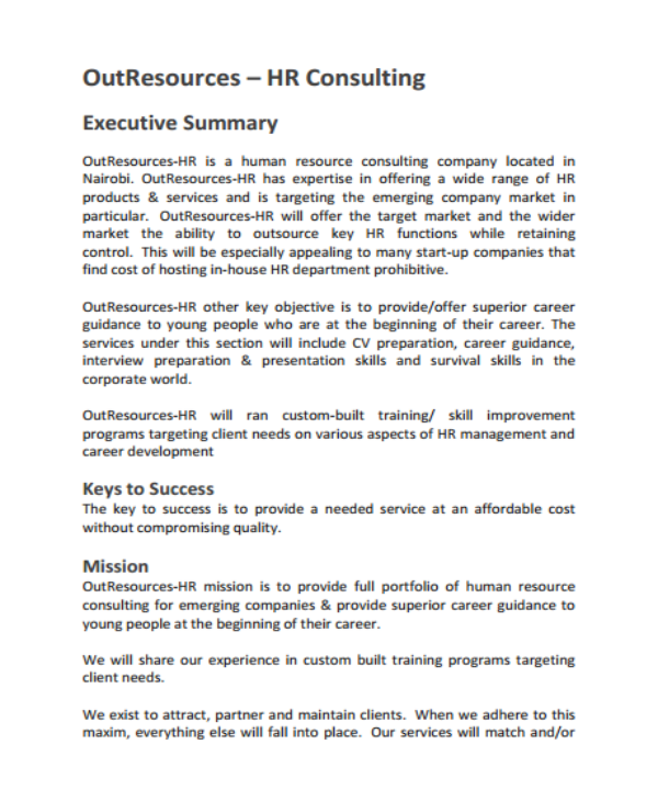 human resource consulting business plan template
