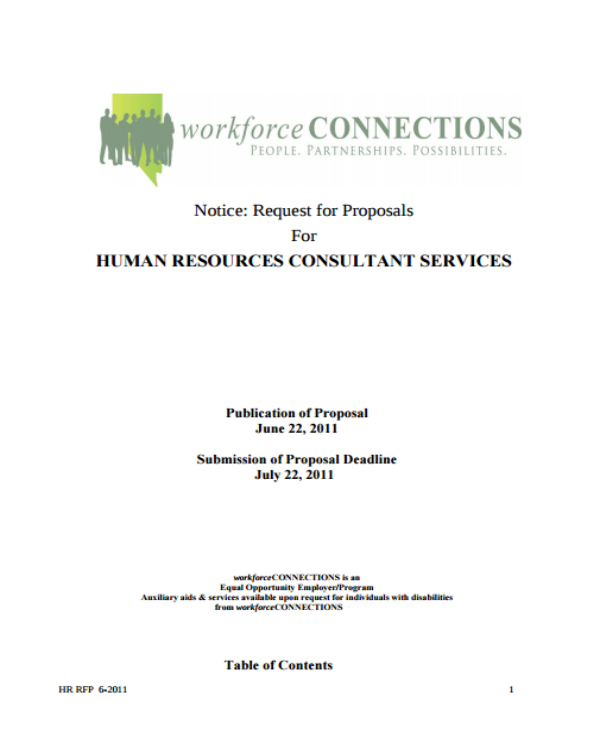 human resources consulting services request for proposal