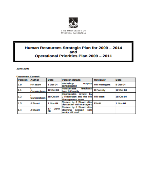 human resources strategic plan 2009 2014