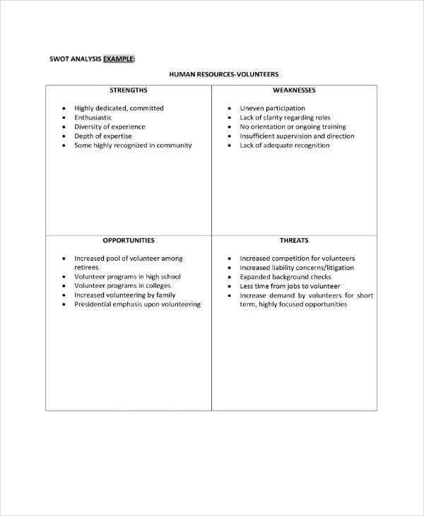 human resources volunteers swot analysis