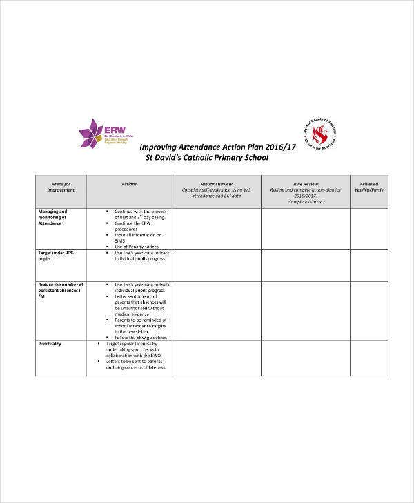 Improving Attendance Action Plan Sample