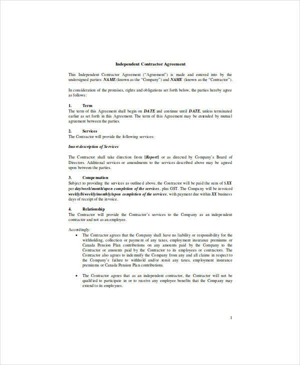 independent contractor agreement1