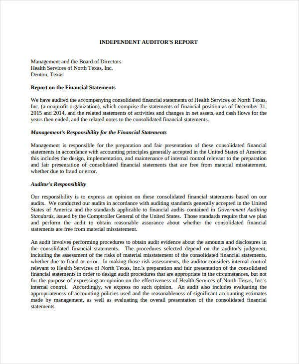 independent financial audit report