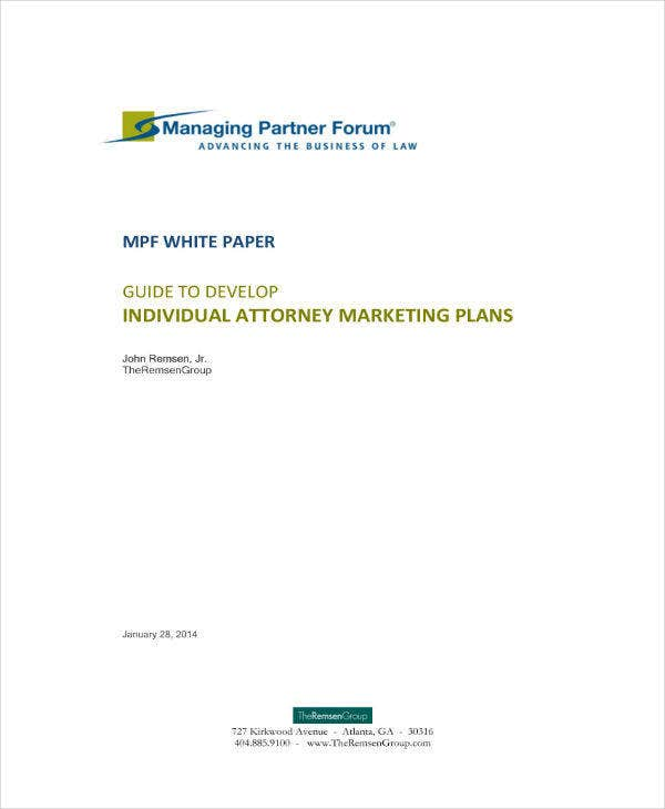 individual attorney marketing plan