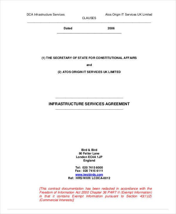 infrastructure services agreement