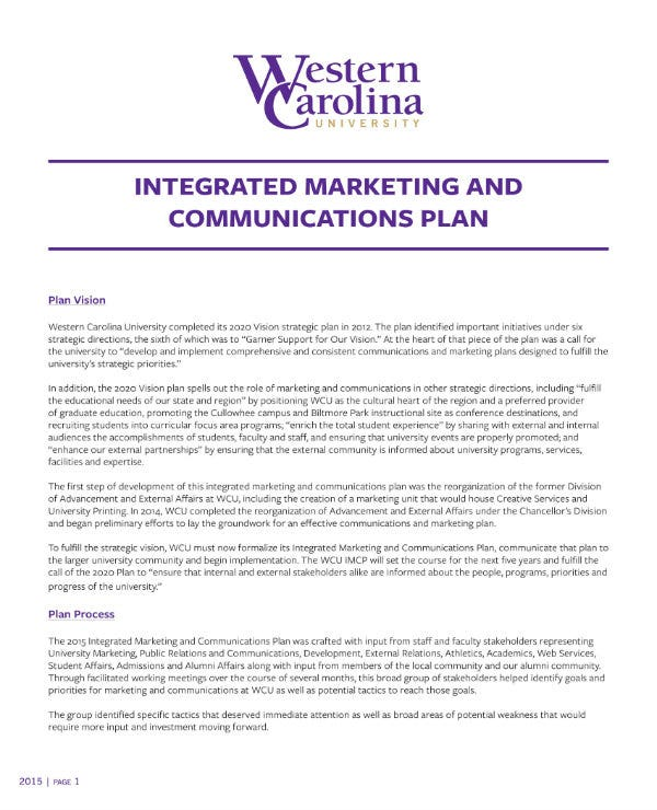 integrated marketing communication and sales business plan