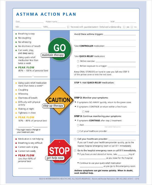 Intermountain Asthma Action Plan Template