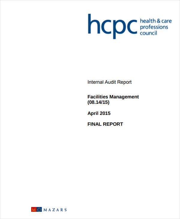 internal audit report facilities management