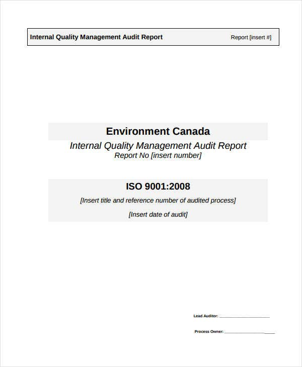 internal quality management audit report