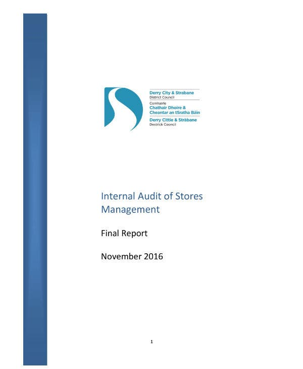 internal stock of stores audit report sample