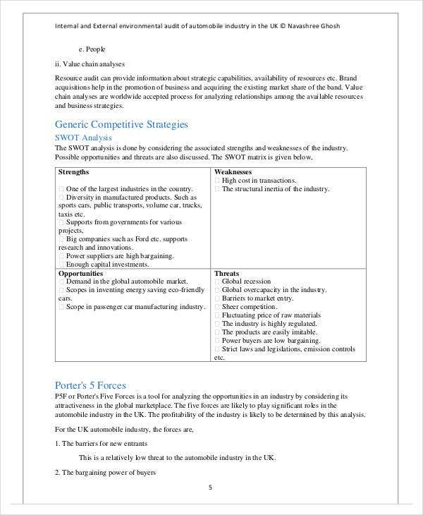 internal and external environmental swot analysisaudit