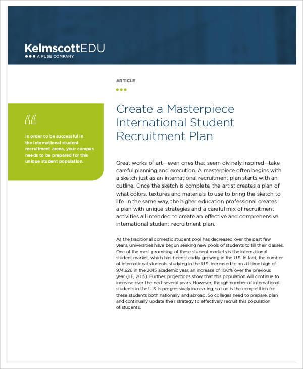 international student recruitment plan
