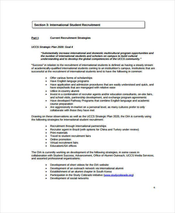 international student recruitment strategic plan