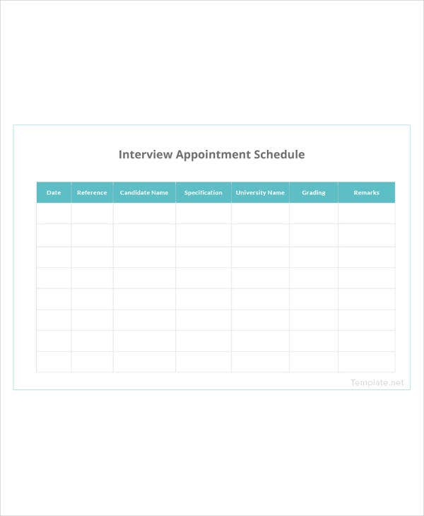 interview appointment schedule template