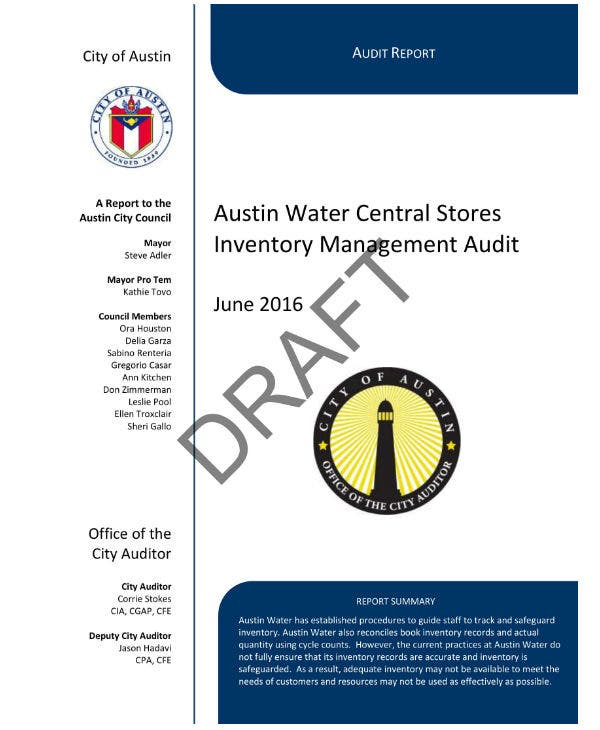 inventory management audit report sample