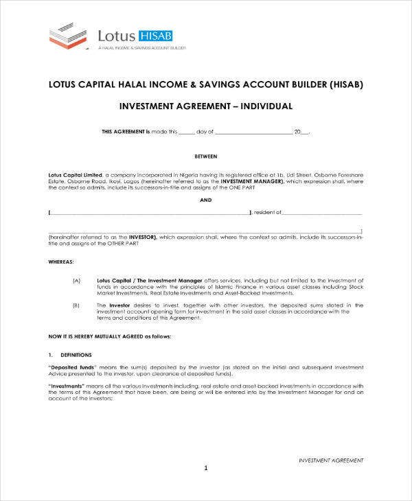 investment agreement sample template