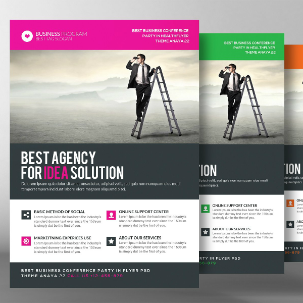 Ladder Man Business Analyst Flyer Template