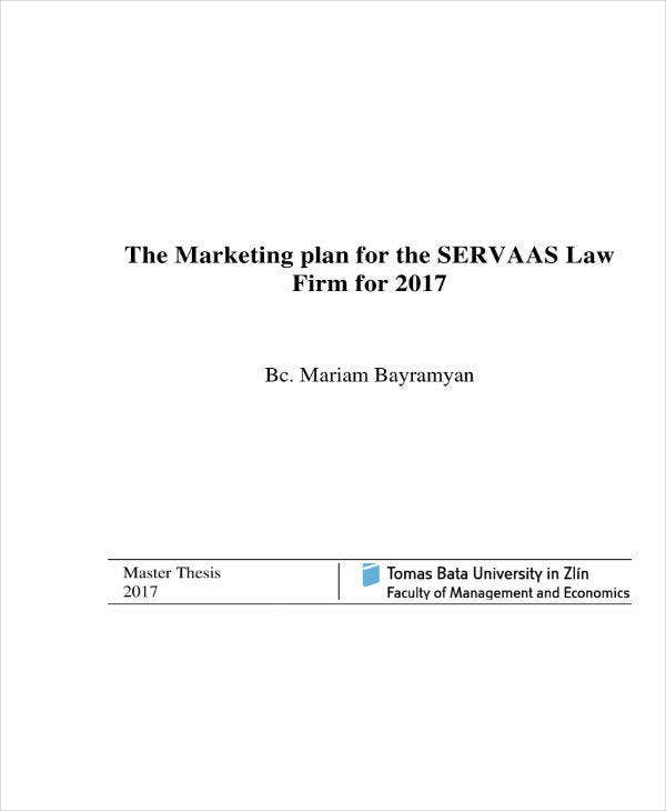 law firm marketing plan example
